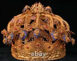 10 China Silver Gold Wire Pearl Nine Dragon Crown Emperor Dragon Coronet Hat