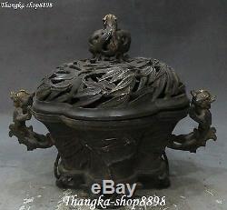 11 Chinese Silver Gilt Dragon Beast Bamboo Incense Burner Censer Incensory Pot