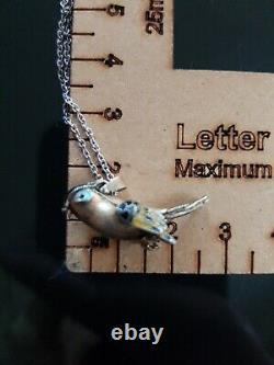 120A Antique Chinese silver gilt enamel bird pendant rare! READ DESCRIPT