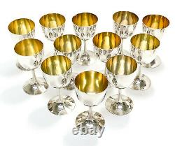 12 Chinese Silver Cordial Wine Goblets, Gilt Interior
