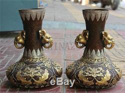 13Marked Chinese Bronze 24K Gold Gilt Silver Elephant Flower Vase Bowl Pot Pair