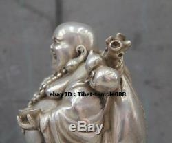 17 CM Chinese Pure Bronze Silver-gilt Lucky Wealth Maitreya Buddha Amulet Statue