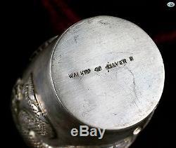 1800 WAI KEE Asian Chinese Export Set of 6 Silver Gilt Dragon Liquor Cup Saucer