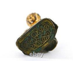 18C Chinese Gilt Lacquer Bronze Miniature Buddha Figure Statute Silver Clip Pin