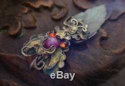 18th C chinese antique silver gilt butterfly gem jade leaf pendant