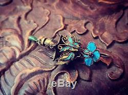 18th C chinese antique silver gilt kingfisher feather butterfly basket pendant