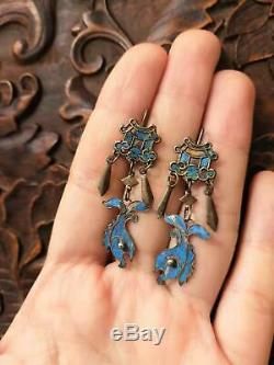 18th C chinese antique silver gilt kingfisher feather fish temple earrings