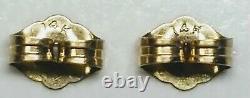 1920's Chinese Enamel on Silver Filigree Ball Dangle Drop Earrings 14K Gold Back