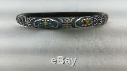 1930's Chinese 8 Gram Gilt Sterling Silver and Bamboo Carved Bracelet Bangle