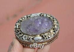 1930's Chinese Amethyst Carved Carving Plaque Gilt Sterling Silver Enamel Box Mk