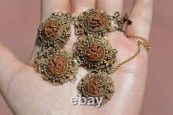 1930's Chinese Gilt Silver Hediao Nut Pit Carved Carving Bead Bracelet AS IS
