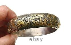 1930's Chinese Gilt Solid Silver Tang Style Bracelet Bangle Turtle Stag Deer