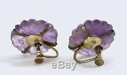 1930's Chinese Gilt Sterling Silver Filigree Amethyst Carved Bracelet & Earrings