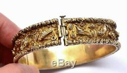 1930's Chinese Gilt Sterling Silver Gold Wash Bracelet Bangle Fish Crab Shrimp