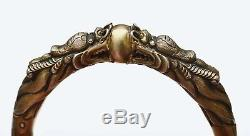 1930's Chinese Gilt Sterling Silver Rattan Carved Bracelet Bangle Dragon Mk