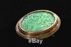 1930's Chinese Gold Wash Sterling Silver Jade Jadeite Carved Plaque Brooch Pin
