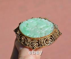 1930's Chinese Jade Jadeite Carved Carving Plaque Gilt Silver Brooch Pin Marked