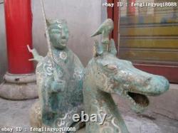 19Chinese Old Bronze Copper Silver-Gilt aggressive warrior Ride on Horse Statue