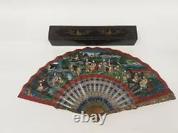 19th Century Chinese GILDED SILVER FILIGREE & ENAMEL BRISE FAN