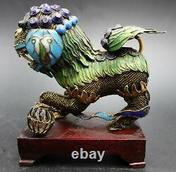 19th Century Chinese Silver & Enamel Gilded Foo Dog Guard Lions Sculpture Pair