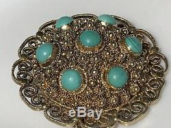 1.5 Vtg Antique Chinese Turquoise Silver Gold Wash Tiered Filigree Brooch 12gr