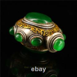1.97 Collection Chinese silver gilt inlay gem Handmade snuff bottle