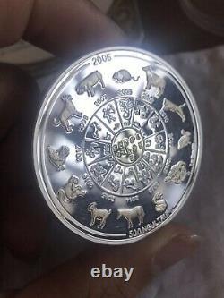 2006 bhutan chinese 12 lunar zodiac gilded 2oz silver coin