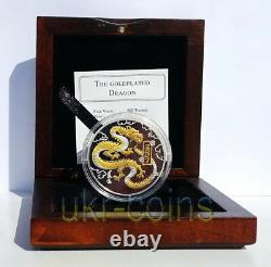 2007 Mongolia Chinese Lunar Year of the Dragon 1 Oz Silver Proof Gilded Coin