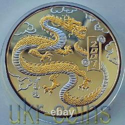 2007 Mongolia Lunar Year of the Dragon 5 Oz Silver Proof Gilded Coin Chinese