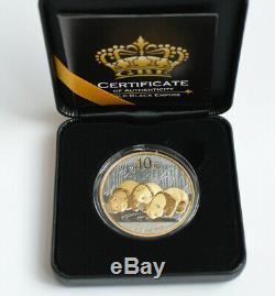 2013 1oz. 999 Silver Chinese Panda Black Rhodium and 24K Gold (Very Rare)