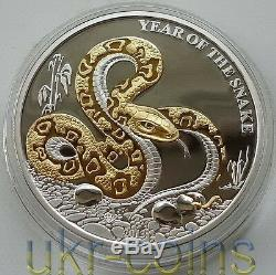 2013 Lunar Togo Year of the Snake 1 Oz Silver Proof Gilded Coin Chinese Zodiac