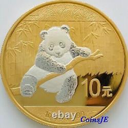 2014 1oz. 999 10 Yuan Chinese Panda Silver Coin Selective Reverse Gilded