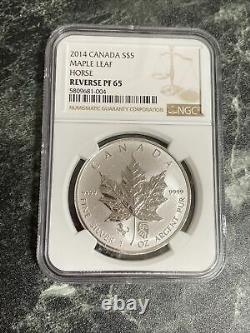 2014 Canada 1oz Maple Leaf Chinese Horse Double Privy Silver Mintage500 NGC PF65