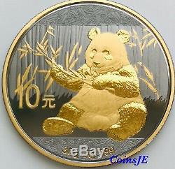 2017 1oz. 999 Chinese Panda Silver Coin Ruthenium & Gold Gilded