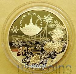 2018 Laos Lunar Year of the Dog 1 Oz Silver Proof Gilded Coin Chinese Zodiac