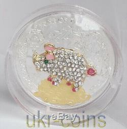 2019 Congo Chinese Lunar Year of the Pig 3D Gilded Silver Color Coin Gemstone