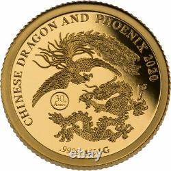 2020 Fiji Chinese Dragon & Phoenix 1 gram Gold & 1 oz Silver Coin Set 888 Made