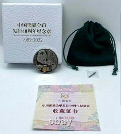 2021 China 40th Anniv. Of Chinese Panda Gold Coin 20g Silver+1g Gold Coin Medal