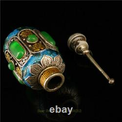 2.95 Collection Chinese Cloisonne silver gilt inlay gem Handmade snuff bottle