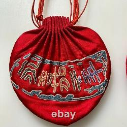 2 Antique Chinese China Qing Silk Embroidery Rank Gold Silver Purse Men 1900