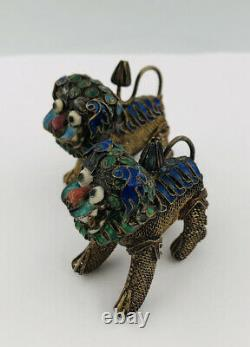 (2) Antique Old Chinese Gilt Silver Filigree Multi Color Enamel Foo Dog Statues