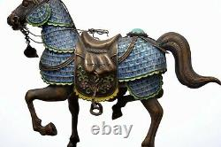2 Chinese Gilt Silver Enamel Horse Coral & Turquoise Carved Carving Bead Stand