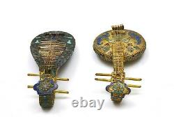 2 Old Chinese Gilt Solid Silver Enamel Mini Music Instrument Pipa Ruan Guitar