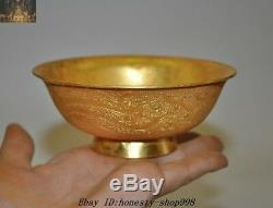 5 Old Chinese Dynasty Palace Silver 24K Gold gilt Phoenix Totem Bowl Cup Bowls