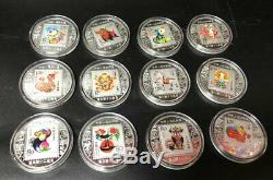60 Piece Chinese Zodiac Silver Gold Colour Coins All 5 Set