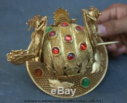 6 Old Rare Chinese Pure Silver 24K Gold Gilt Royal Palace Beast Hairpin Cap Hat