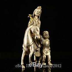 7 Chinese Antique bronze handmade silvering gilt wang zhaojun Horse statue
