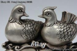 7 Chinese White Bronze Silver Gilt Lotus Mandarin Duck Aix Galericulata Statue
