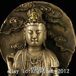 7 Chinese old Antique bronze handmade silvering gilt gold guanyin statue