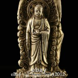 7 xuande Chinese Antique bronze handmade silvering gilt three face statue